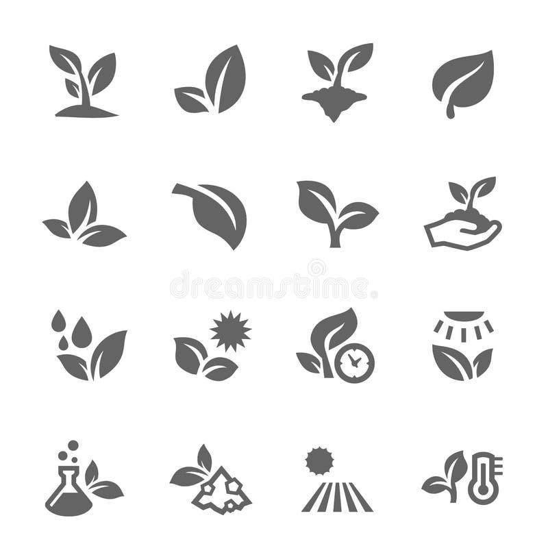 Planta ícones ilustração stock