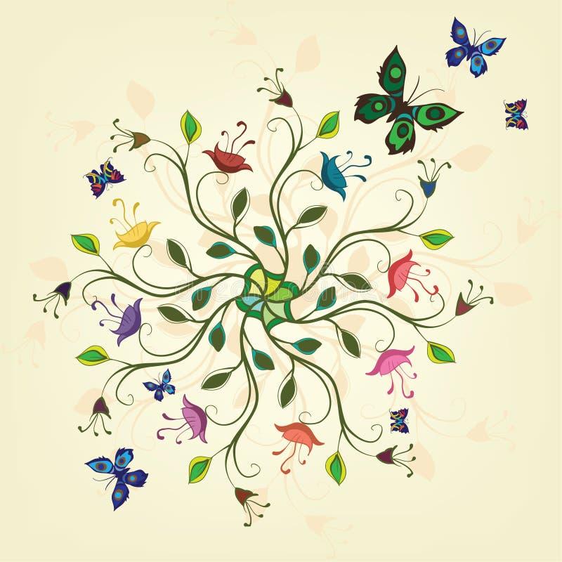 Planta abstracta con las flores y las mariposas libre illustration