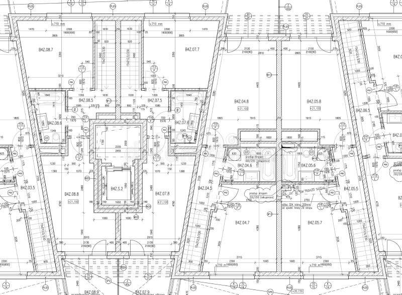 Planta arquitectónica do CAD ilustração royalty free