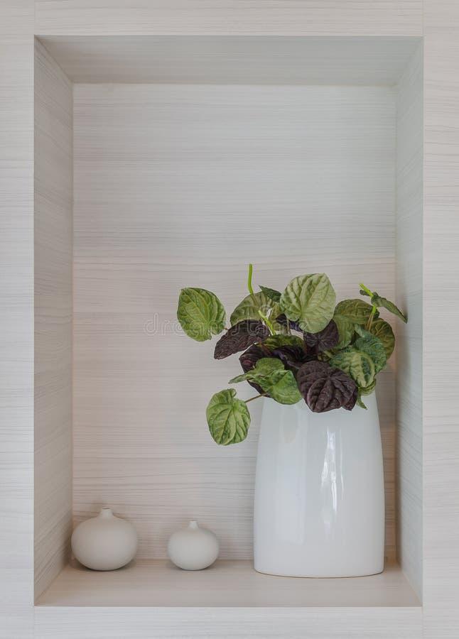 Planta artificial no vaso cerâmico branco fotografia de stock royalty free