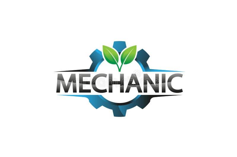 Planta azul creativa Logo Design Illustration de la hoja del engranaje ilustración del vector