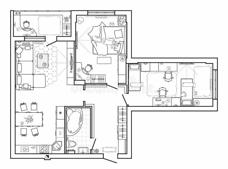Planta baixa com mobília na vista superior Grupo arquitetónico de linha fina ícones da mobília Disposição detalhada do apartament ilustração do vetor