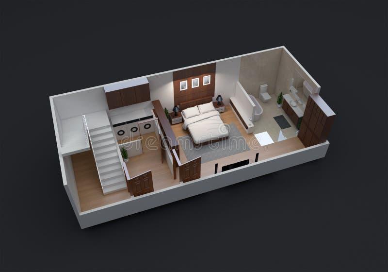 planta baixa 3D da unidade pequena do apartamento