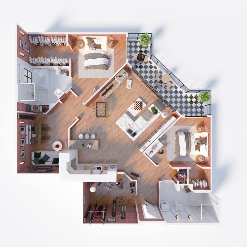 Planta baixa de uma ilustração da opinião superior 3D da casa ilustração do vetor