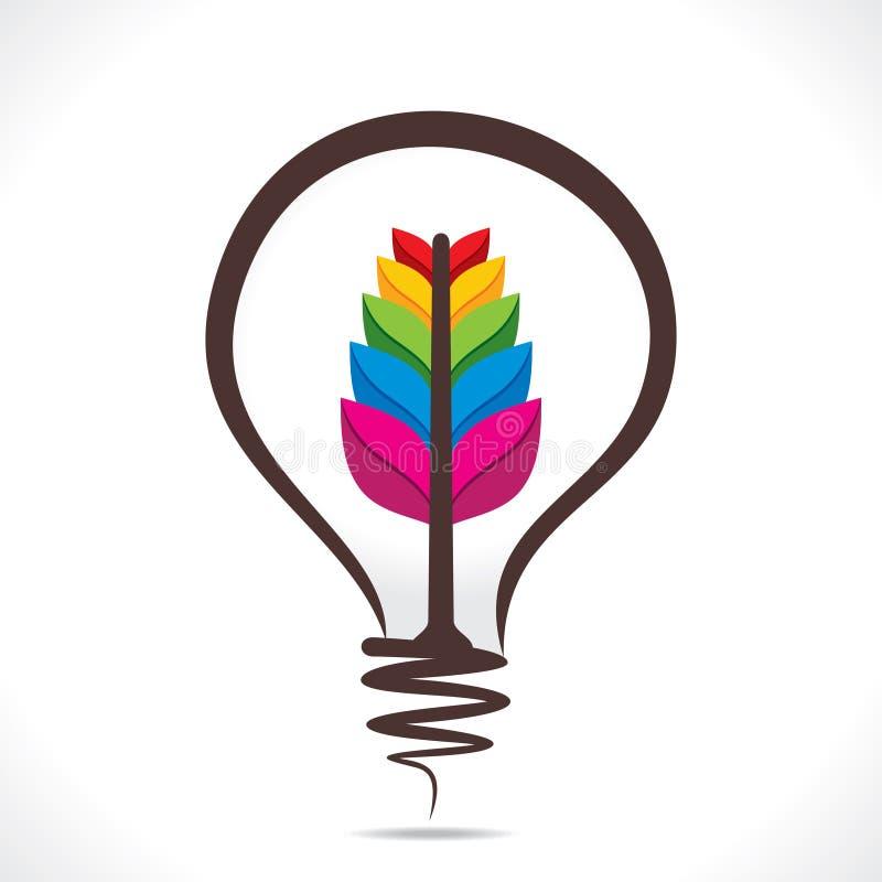 Planta colorida creativa en el diseño del bulbo stock de ilustración