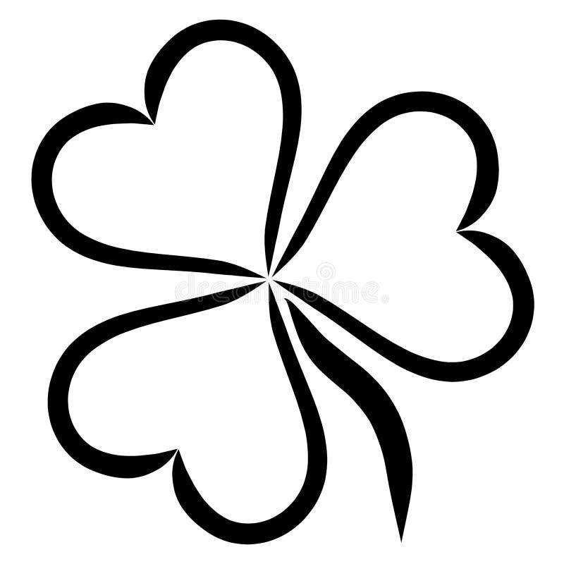 Planta com as três folhas na forma do coração, trevo ilustração do vetor
