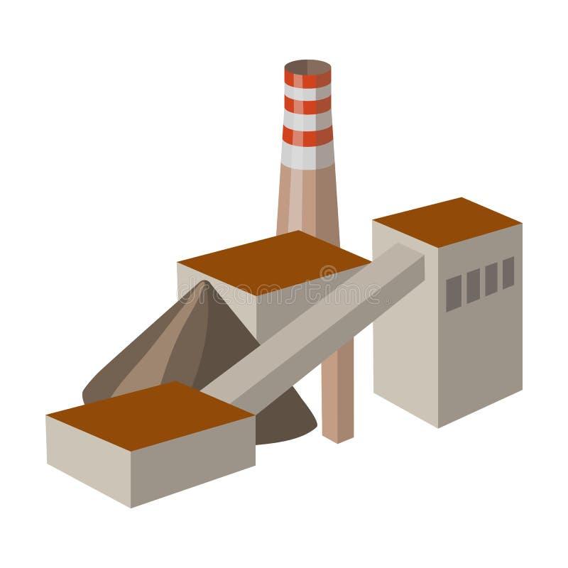 A planta com a tubulação Fábrica no processamento dos minerais da mina Ícone da indústria da mina único no estilo dos desenhos an ilustração stock
