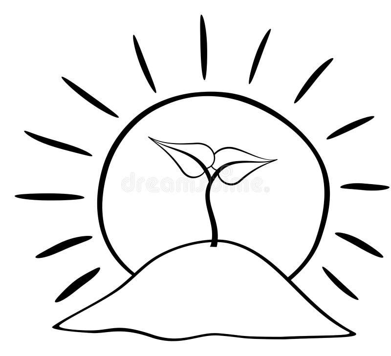 Planta creciente de la tierra con el icono del sol Ilustraci?n del vector aislada en el fondo blanco stock de ilustración