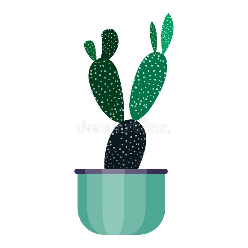 Planta da casa verde no potenciômetro Estilo liso da flor do cacto da folha Vaso de flores da ilustração do vetor isolado no bran ilustração stock