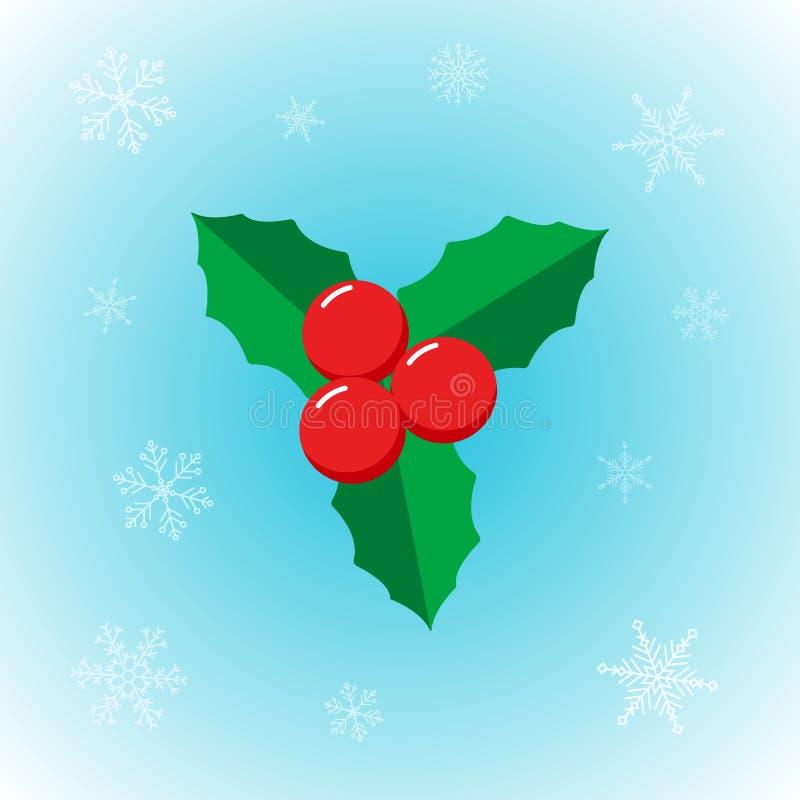 Planta da estrela do Natal do vetor no estilo liso com o floco de neve no fundo do inverno ilustração royalty free