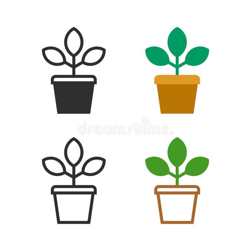 Planta da flor em um potenciômetro ilustração stock