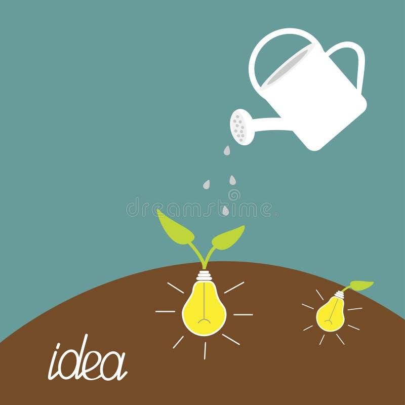 Planta da lata molhando e de bulbo de lâmpada. Conceito crescente da ideia. ilustração royalty free
