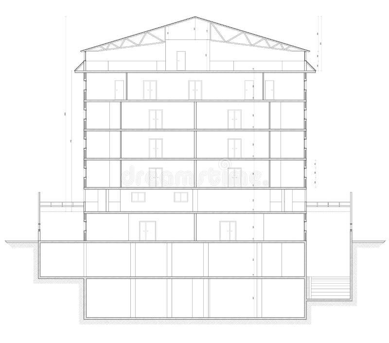 Planta da seção do edifício fotografia de stock