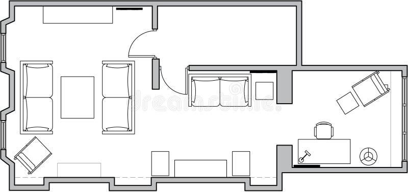 Planta de assoalho da arquitetura ilustração do vetor