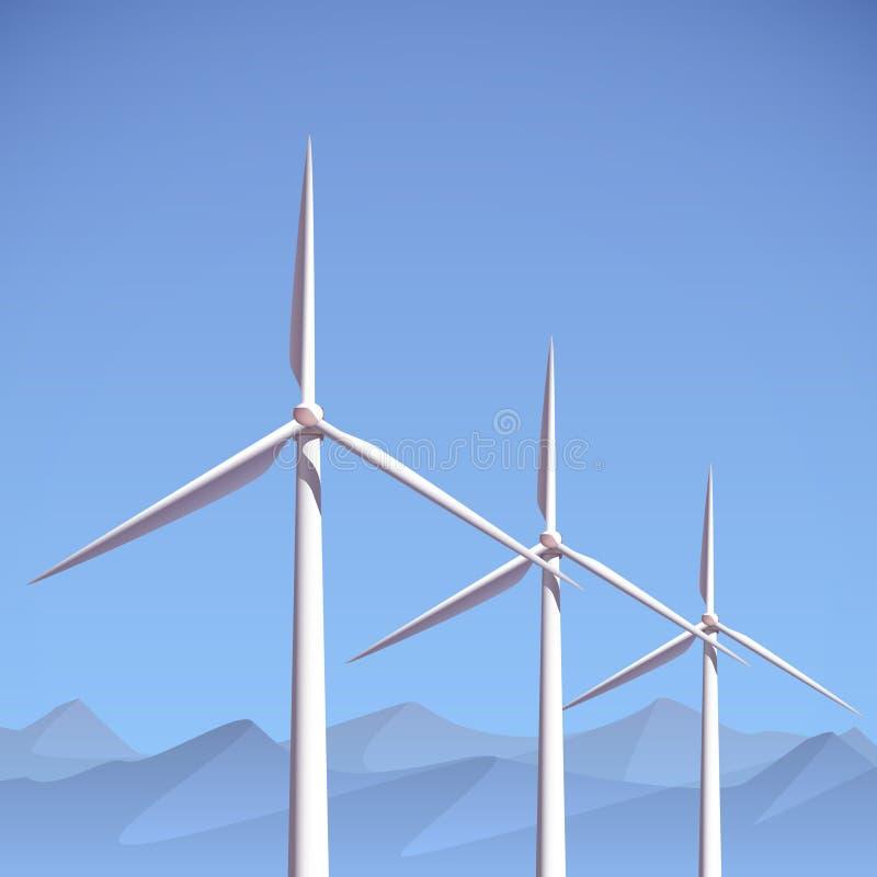 Planta de energias eólicas ilustração royalty free