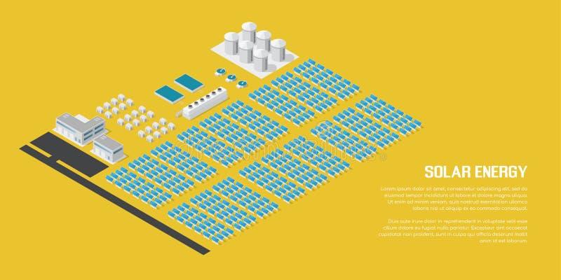 Planta de energias solares isométrica ilustração royalty free