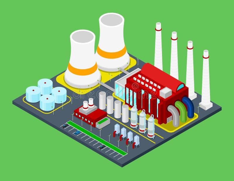 Planta de fábrica industrial del edificio isométrico con los tubos stock de ilustración