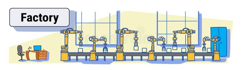 Planta de fabricación automática del transportador de la producción de la fábrica bosquejo colorido del concepto de la industria  ilustración del vector