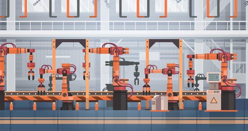Planta de fabricación automática del transportador de la producción de la fábrica concepto de la industria de la automatización i ilustración del vector