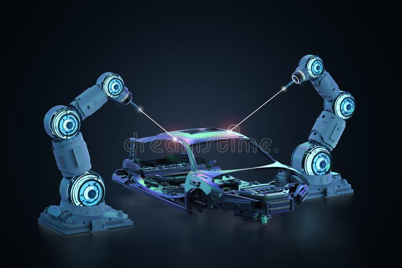 Planta de fabricación del robot ilustración del vector