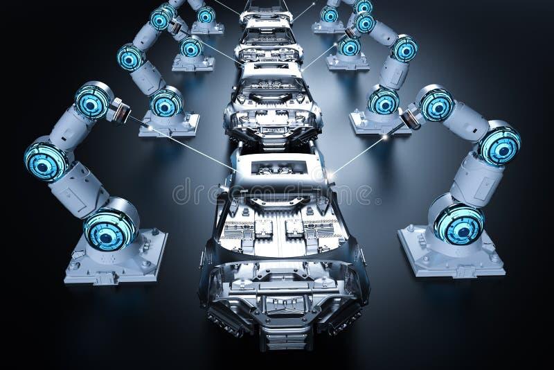 Planta de fabricación del robot stock de ilustración
