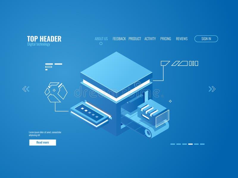 Planta de fabricación de la fábrica automatizada, transportador de la producción, sotage de la nube, almacén de datos, proceso de libre illustration