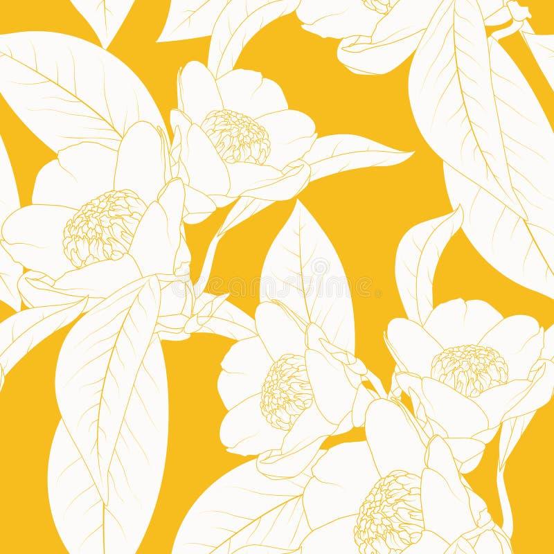 Planta de la flor de la camelia con el esquema de las hojas en fondo amarillo-naranja brillante Textura inconsútil floral natural ilustración del vector