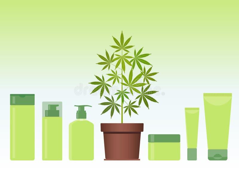 Planta de la marijuana o del cáñamo en pote con los productos del cosmético del cáñamo Crema, champú, jabón líquido, gel, loción, libre illustration