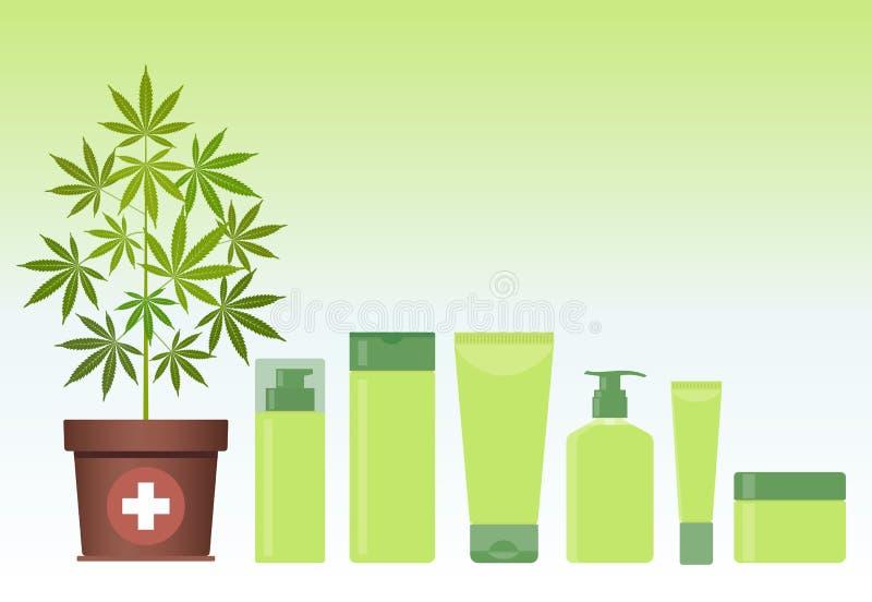 Planta de la marijuana o del cáñamo en pote con los productos del cosmético del cáñamo Crema, champú, jabón líquido, gel, loción, stock de ilustración