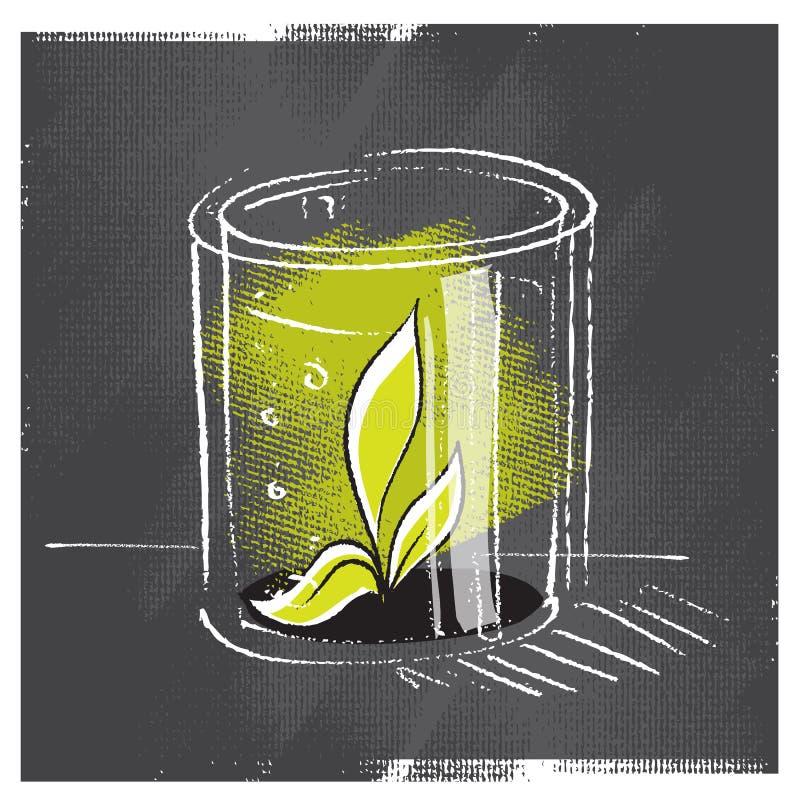 Planta de la planta de semillero protegida con un vidrio libre illustration