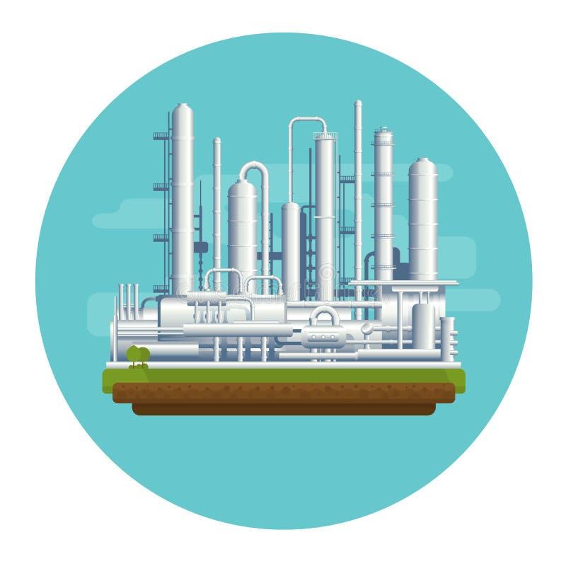 Planta de la producción petrolífera ilustración del vector