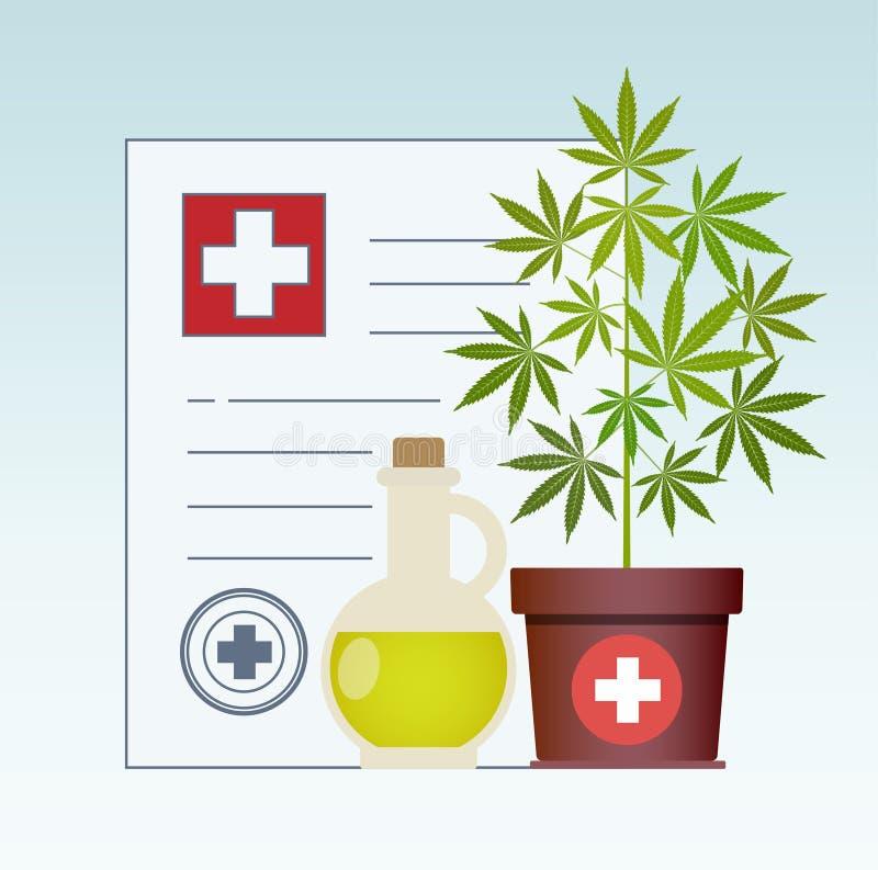 Planta de marijuana y aceite del cáñamo Aceite de cáñamo en una mofa de cristal del tarro para arriba E stock de ilustración