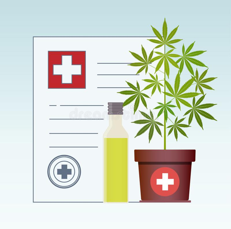 Planta de marijuana y aceite del cáñamo Aceite de cáñamo en una mofa de cristal del tarro para arriba E ilustración del vector