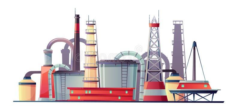 Planta de refinería de la industria del combustible del vector, estación del aceite stock de ilustración