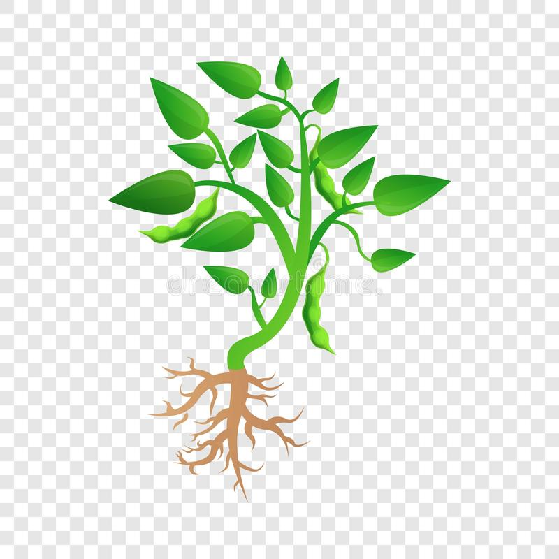 Planta de soja crecer el icono, estilo de la historieta stock de ilustración