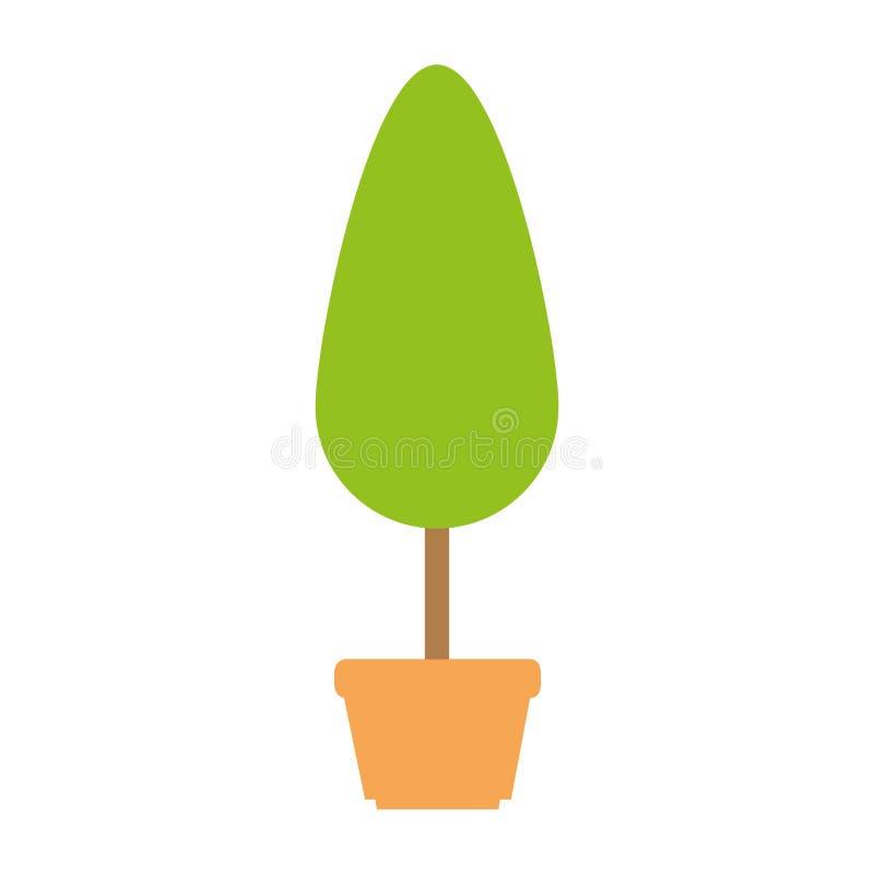 Planta del árbol en icono del pote stock de ilustración