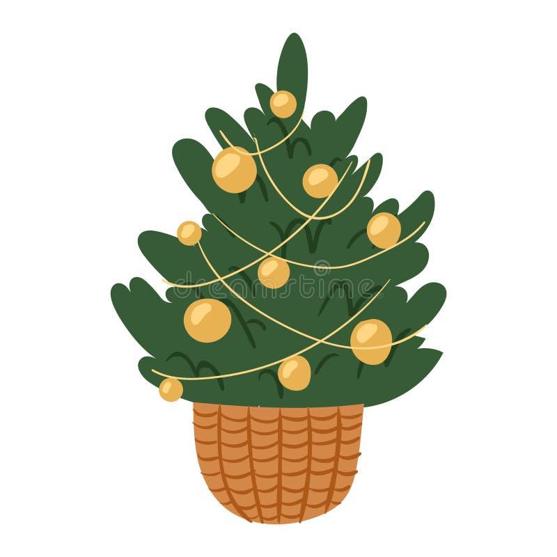 Planta del árbol del partido de la estación del invierno de la celebración del día de fiesta del diseño del regalo de Navidad de  stock de ilustración