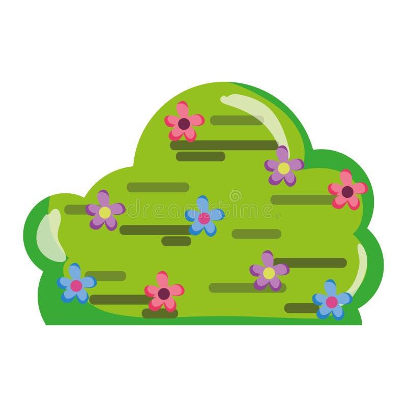 Planta del arbusto de la primavera con estilo de las flores libre illustration
