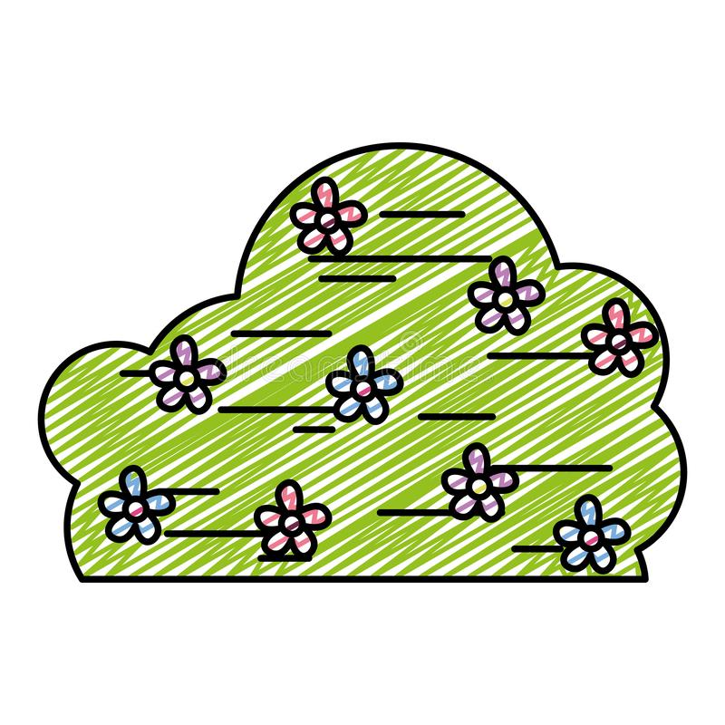 Planta del arbusto de la primavera del garabato con estilo de las flores ilustración del vector