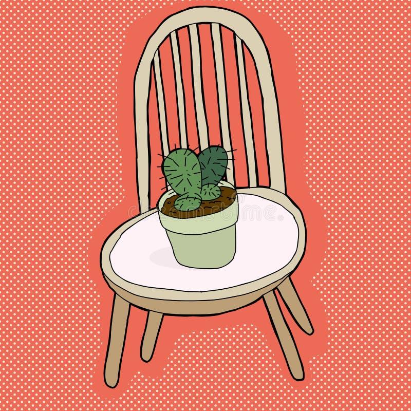 Download Planta del cactus en silla ilustración del vector. Ilustración de descuidado - 41915488