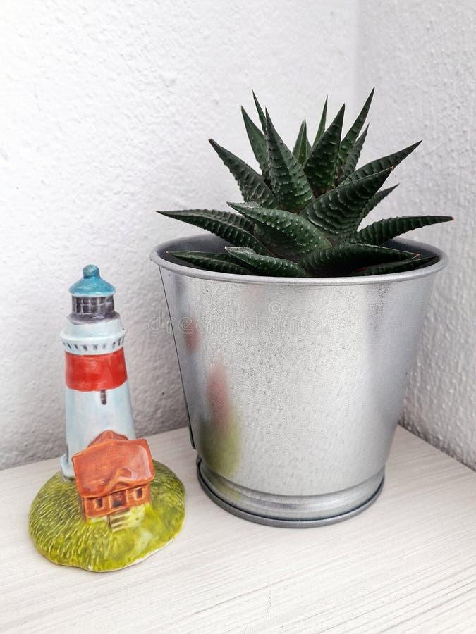 Planta del cactus en un pote de plata al lado de un faro de la porcelana en una mesa de madera imagenes de archivo