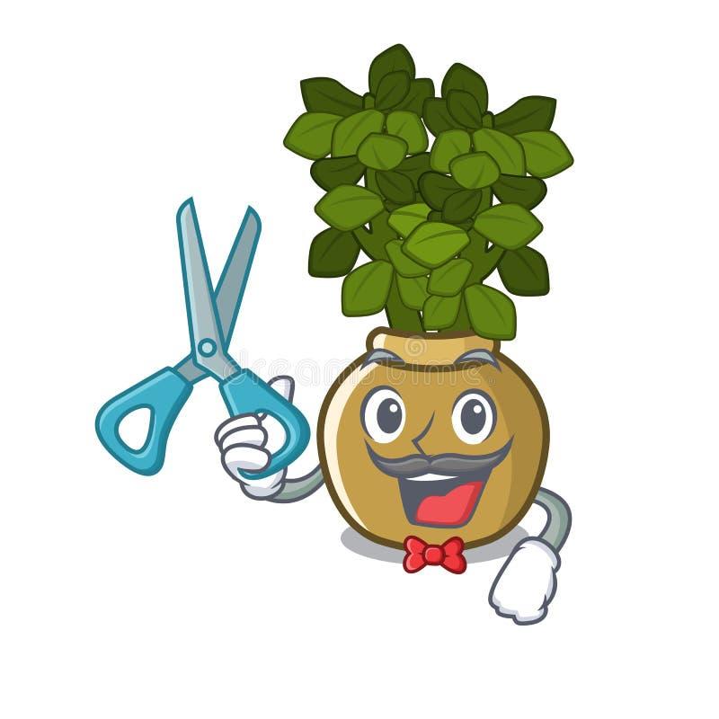 Planta del jade del peluquero aislada con la mascota libre illustration