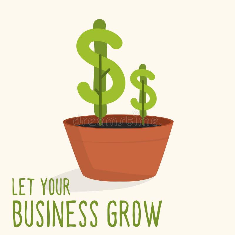 Planta do dólar que cresce do potenciômetro da planta ilustração stock