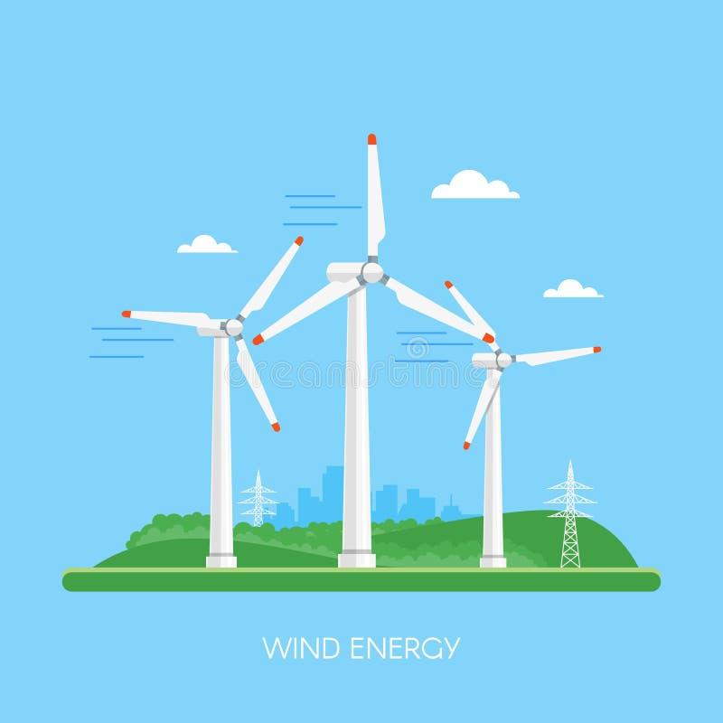 Planta e fábrica de energias eólicas ilustração royalty free