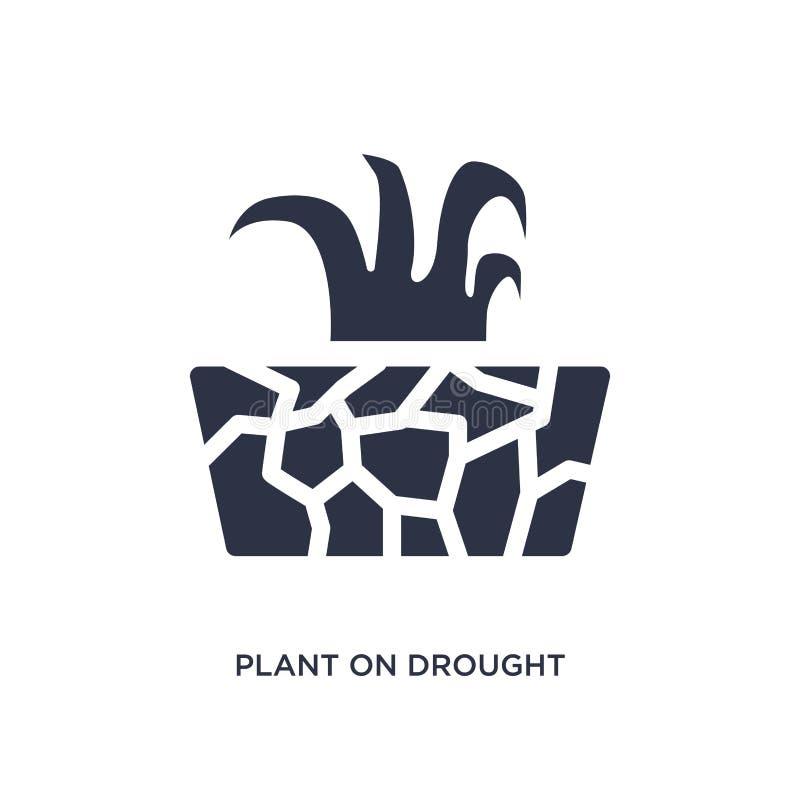 planta en icono de la sequía en el fondo blanco Ejemplo simple del elemento del concepto de la meteorología stock de ilustración