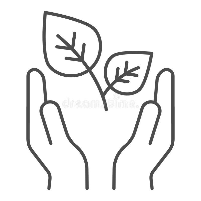Planta en la línea fina icono de la palma El brote y las manos firman el ejemplo del vector aislado en blanco Estilo amistoso del stock de ilustración