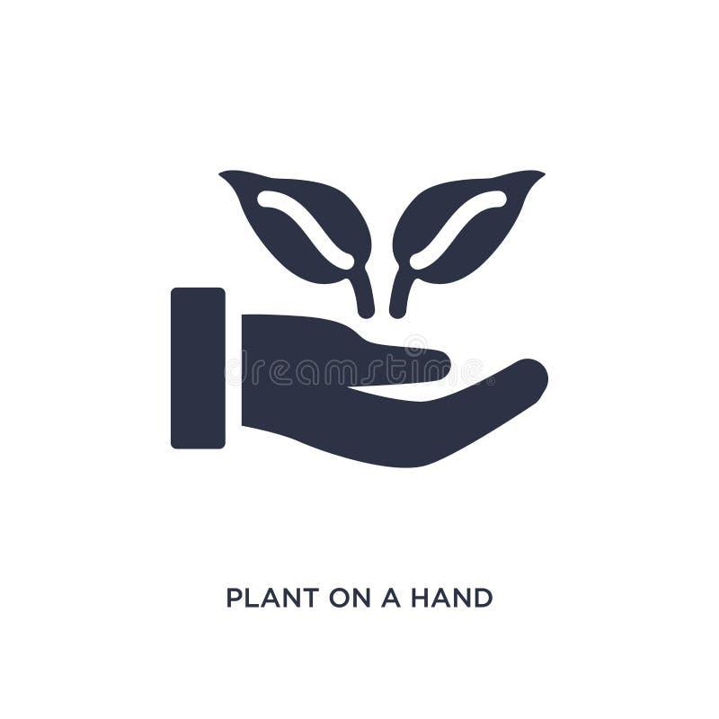 planta en un icono de la mano en el fondo blanco Ejemplo simple del elemento del concepto de la ecología ilustración del vector