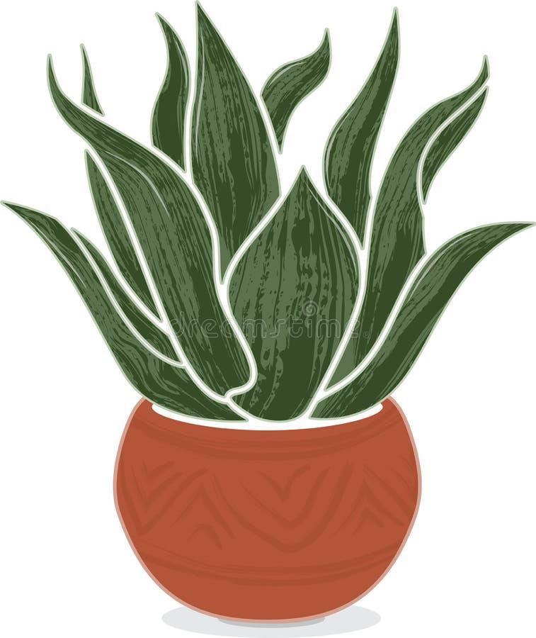 Planta estilizado da agave no potenciômetro mexicano da terracota ilustração royalty free