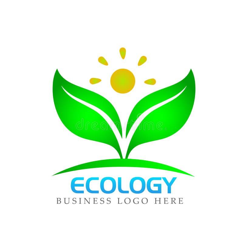 Planta, gente, logotipo natural, salud, sol, hojas botánica, ecología, símbolo e icono en el fondo blanco ilustración del vector