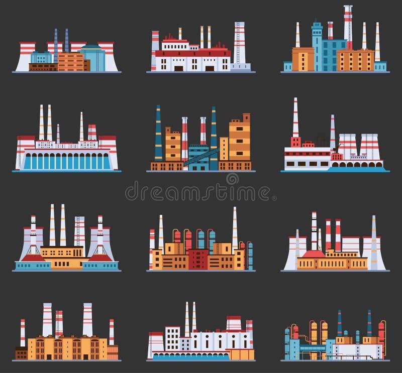 Planta industrial e fábrica com grupo da chaminé de ícones no estilo dos desenhos animados Hidro, nuclear, térmico, produto quími ilustração royalty free